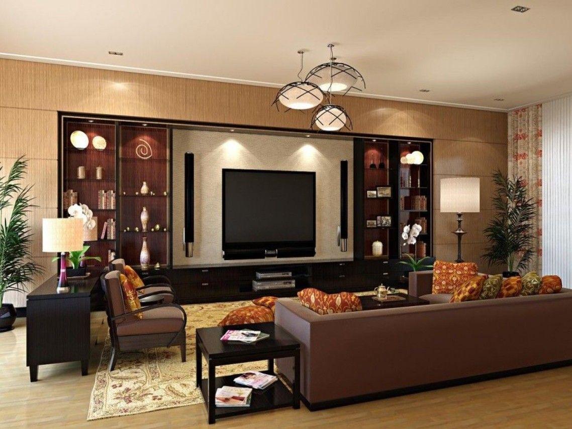 Beautiful Dark Brown Wood Glass Luxury Design Elegant Wall Unit