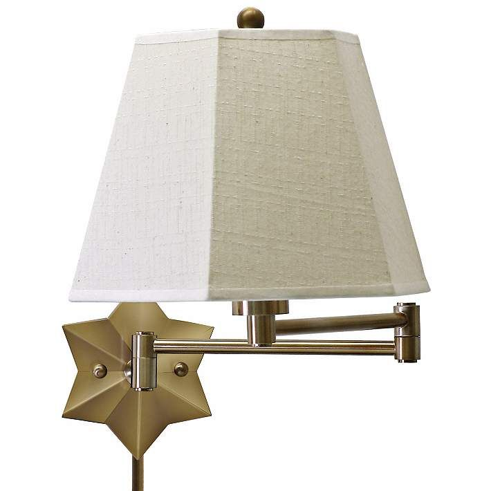 brass star of the show plugin swing arm wall lamp