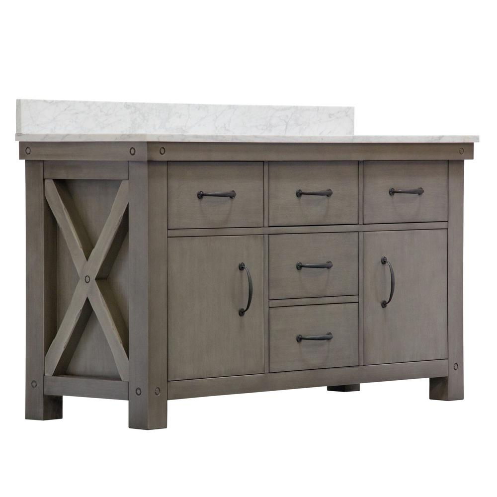 Water Creation Aberdeen 60 In W X 34 In H Vanity In Gray With