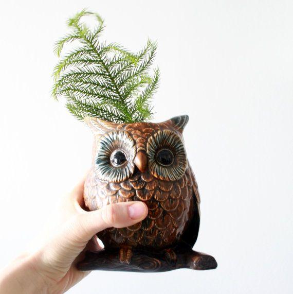 Vintage Ceramic Owl Vase Large Brown Owl By Fullcircleretro 20 00 Ceramic Owl Owl Vase Vintage Ceramic