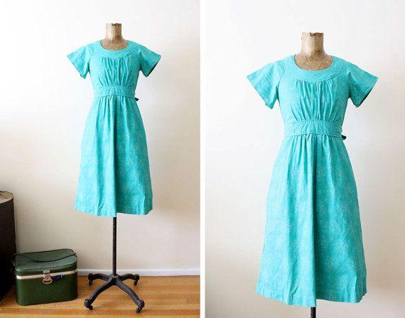 vintage sundress / 60s cotton dress / teal blue by MILKTEETHS, $39.00
