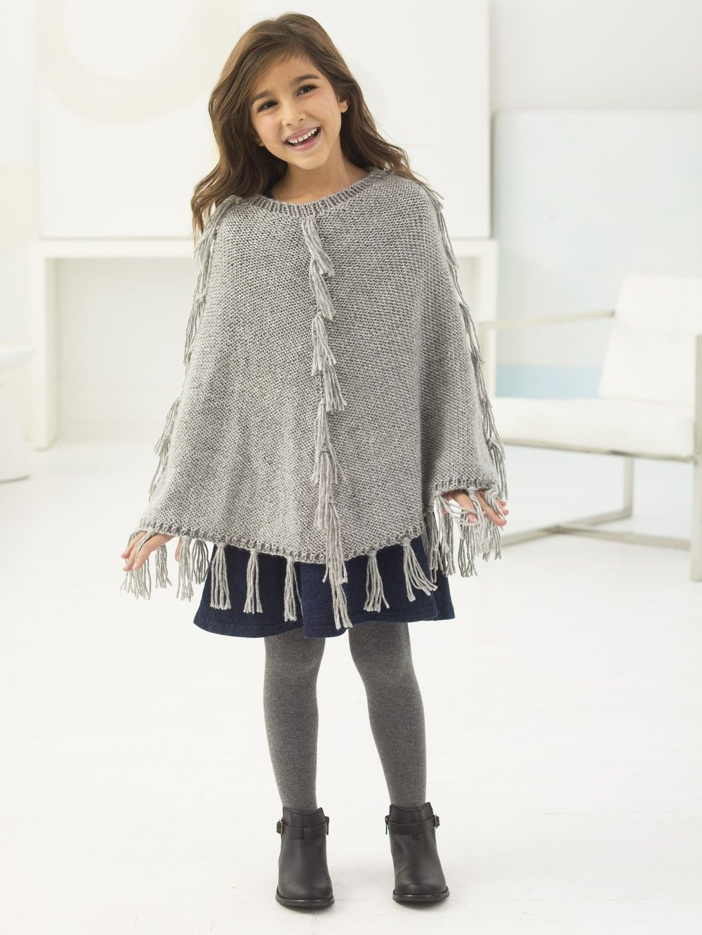 Girl\'s Fringed Poncho (Crochet) - Patterns - Lion Brand Yarn ...