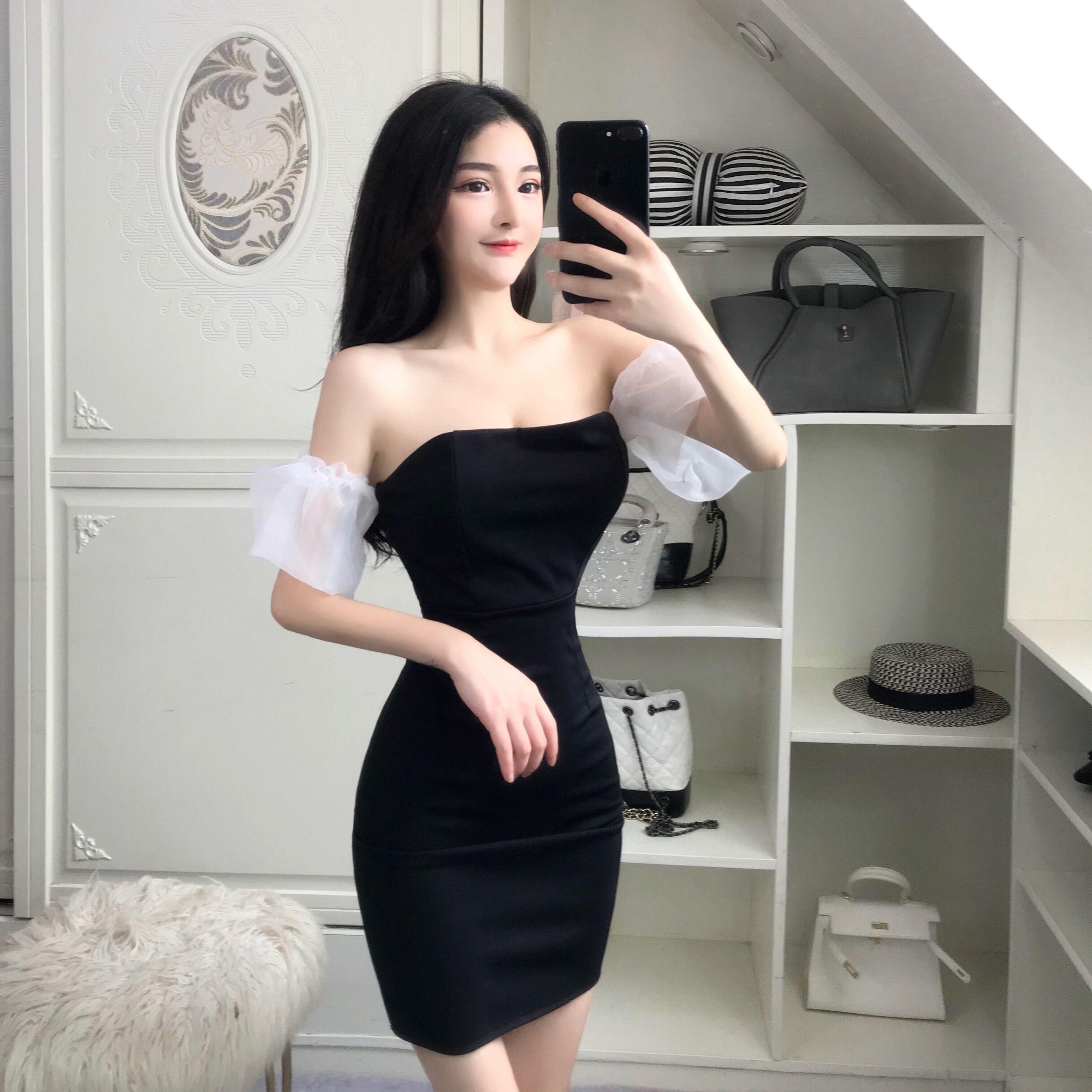 Nightclub Bag Hip Black Tube Top Dress Black Tube Top Dress Ulzzang Fashion Cute Clothes For Women [ 2000 x 2000 Pixel ]