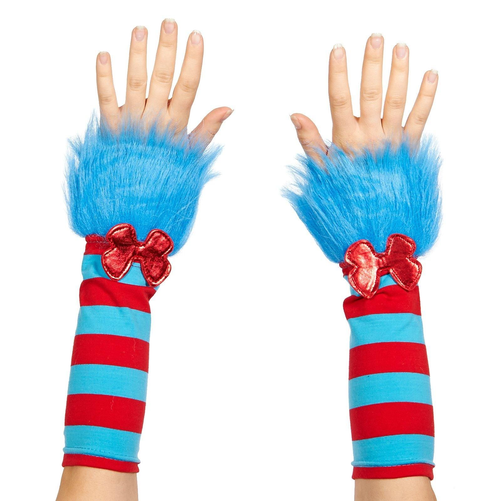 Seuss Halloween Adult Costume Accessory Thing 1 2 Fuzzy Glovettes Gloves Dr