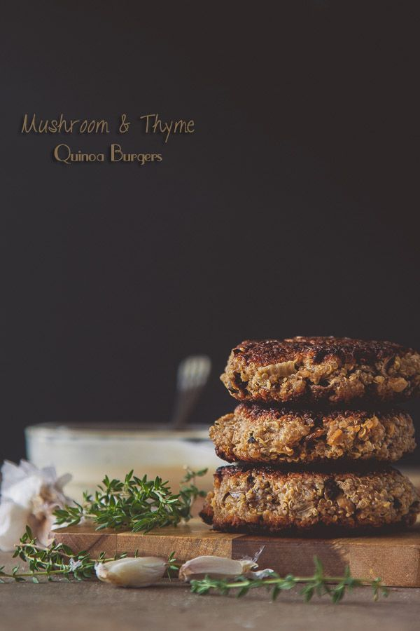 Quinoa Burgers with Roasted Garlic and Thyme Mayonnaise Mushroom Quinoa Burgers recipe |  Click for the recipeMushroom Quinoa Burgers recipe |  Click for the recipe