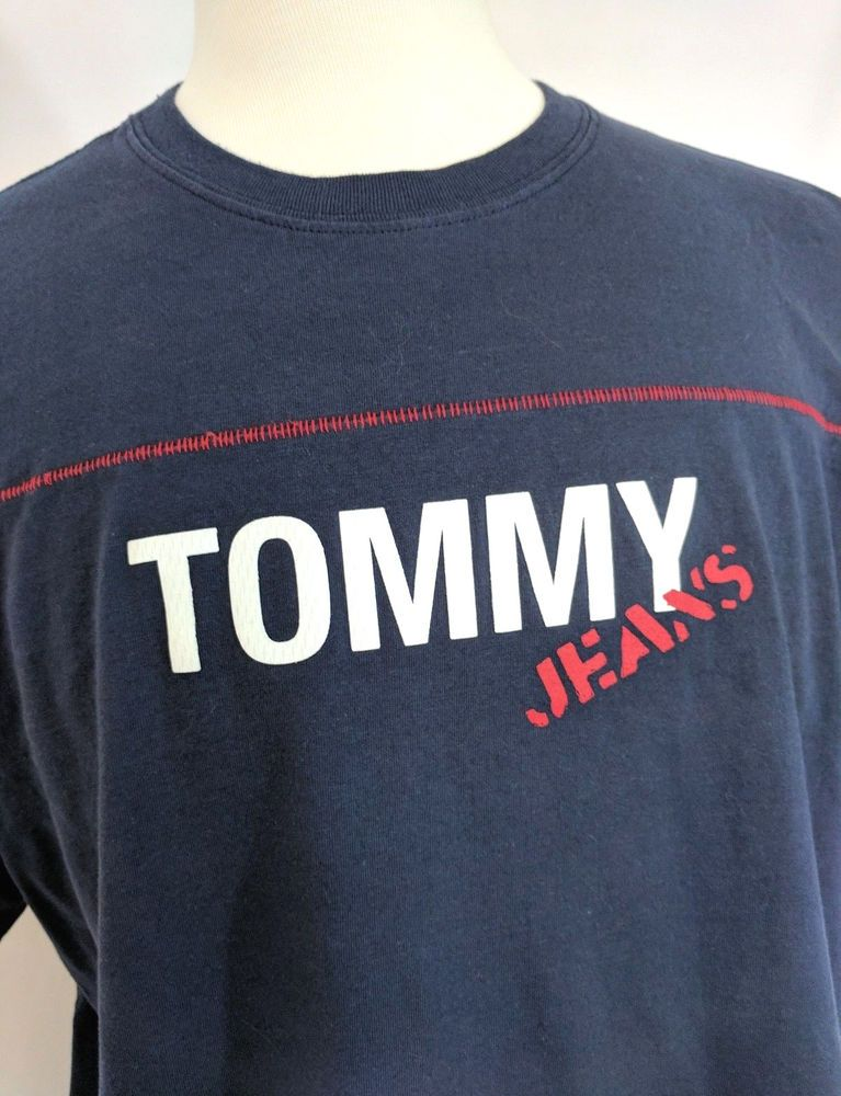 2fa27fe50fd6 Tommy Hilfiger Tommy Jeans Mens T-Shirt Cotton Blue Red White Size XL # TommyHilfiger #GraphicTee