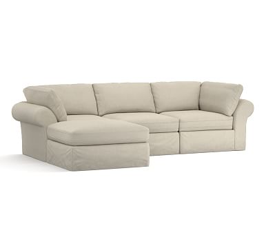 PB Air Slipcovered 4-Piece Sofa with Chaise Sectional ...