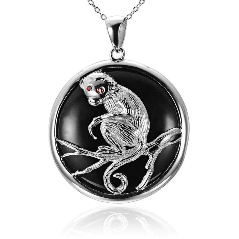 Black jade u garnet chinese zodiac monkey sterling silver