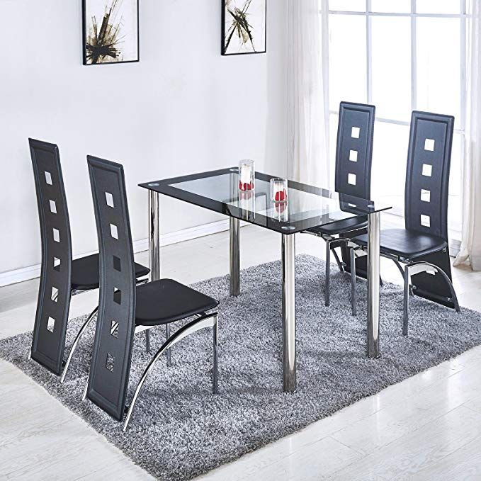 NewRetailGlobal Glass Dining Room Table Set for 4 5 Pieces Black