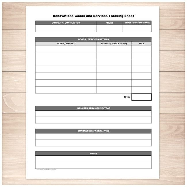 Renovations Goods and Services Tracking Sheet - Printable