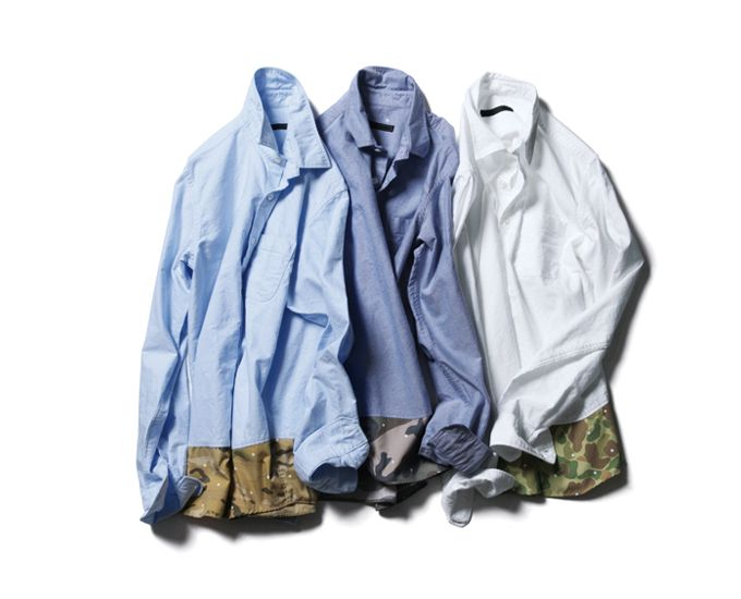 dafb671930 SOPHNET. CAMOUFLAGE END PANEL REGULAR COLLAR SHIRT