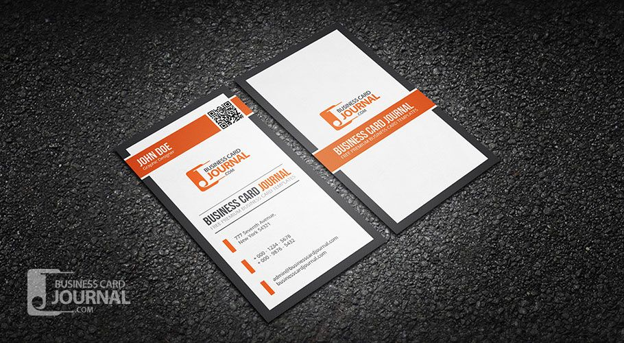 Free professional vertical qr code business card template