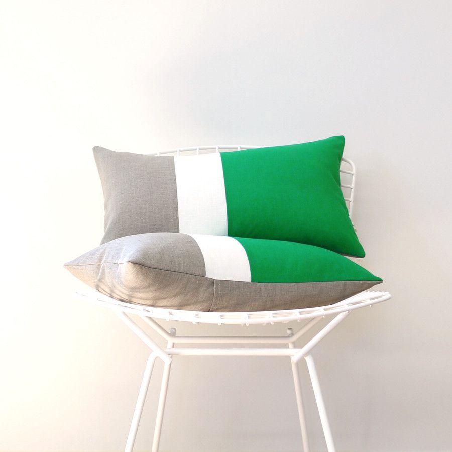 Colorblock pillow kellycreamnatural pillows linen pillows and