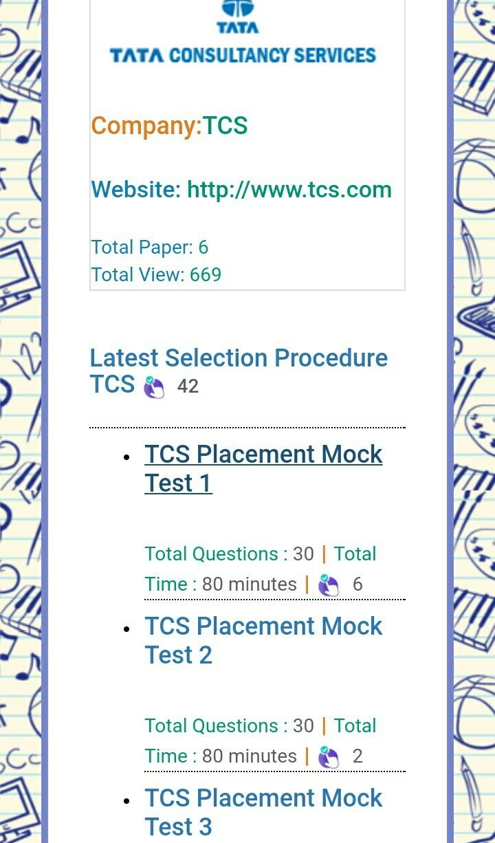 Tcs Latest Selection Procedure And Online Mock Test Placement Papers Technical Interview Questions