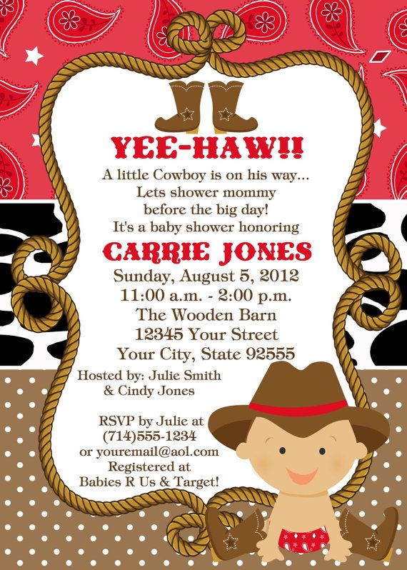 Baby Cowboy Baby Shower Invitation You Print 2 Designs Via Etsy