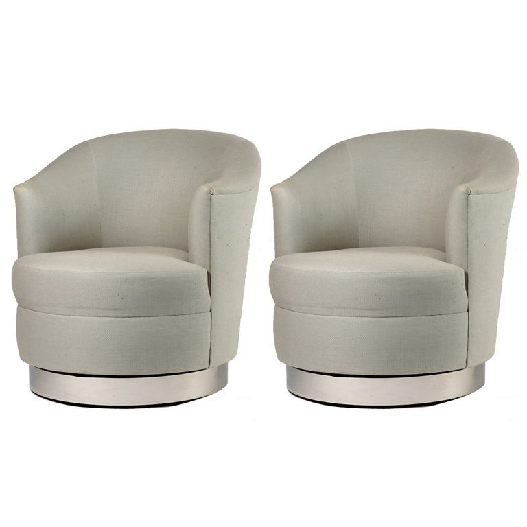 Superb Pair Of Karl Springer Swivel Chairs Swivel Club American Customarchery Wood Chair Design Ideas Customarcherynet