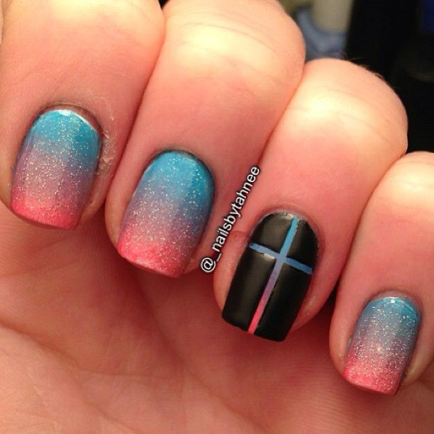 Ombre nails with cross accent. -- paint the nail first, then apply ...