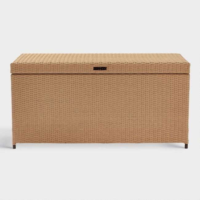 Natural All Weather Wicker Pinamar Outdoor Patio Storage Chest By