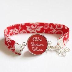 Bracelet liberty rouge et blanc emily - médaille prénom ou texte personnalisable