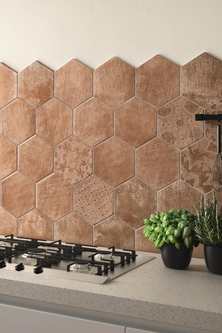 Come Decorare Piastrelle Cucina piastrella hexagone cotto 21x18,2 decoro gres esagonale
