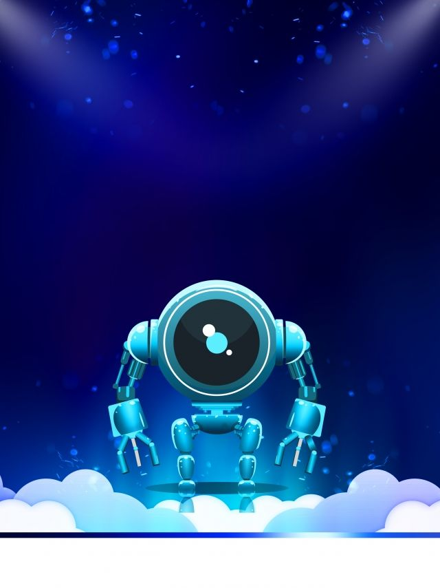 Dark Blue Smart Tech Robot Background