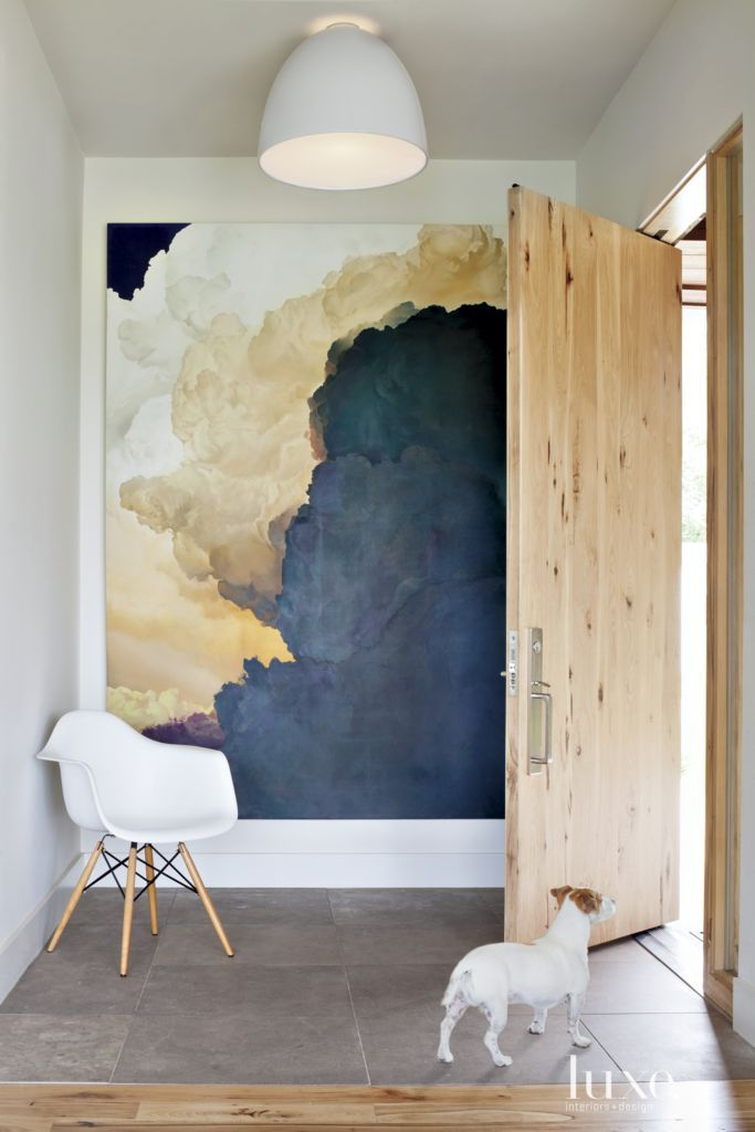 Contemporary White Entry with Oversized Art  6d36e53d65