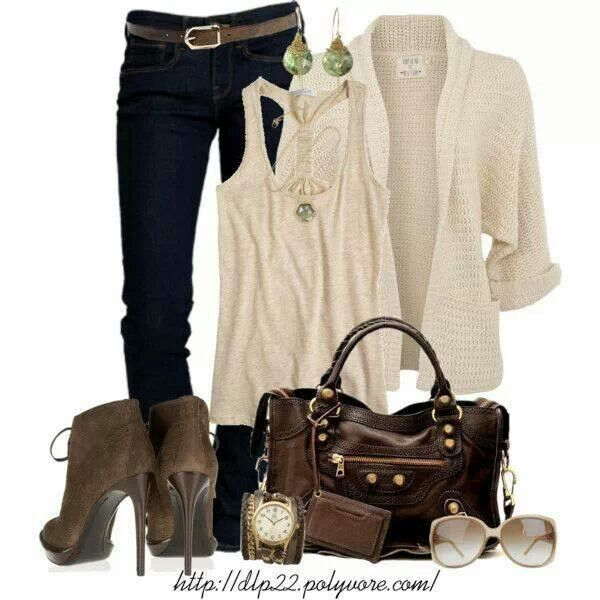 Brown power!! Brown leather bag; brown leather watch; brown leather boots; brown glasses; beige jacket; beige top; dark jeans