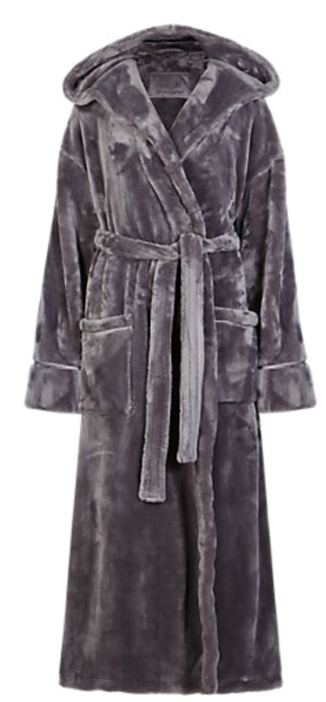 Rosie for Autograph Marks & Spencer Luxury Hooded Dressing gown grey ...
