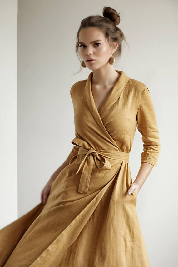 Leinen Kleid MARLENA, Wickeln Maxi-Kleid, Langarm wickeln Kleid #summerdresses