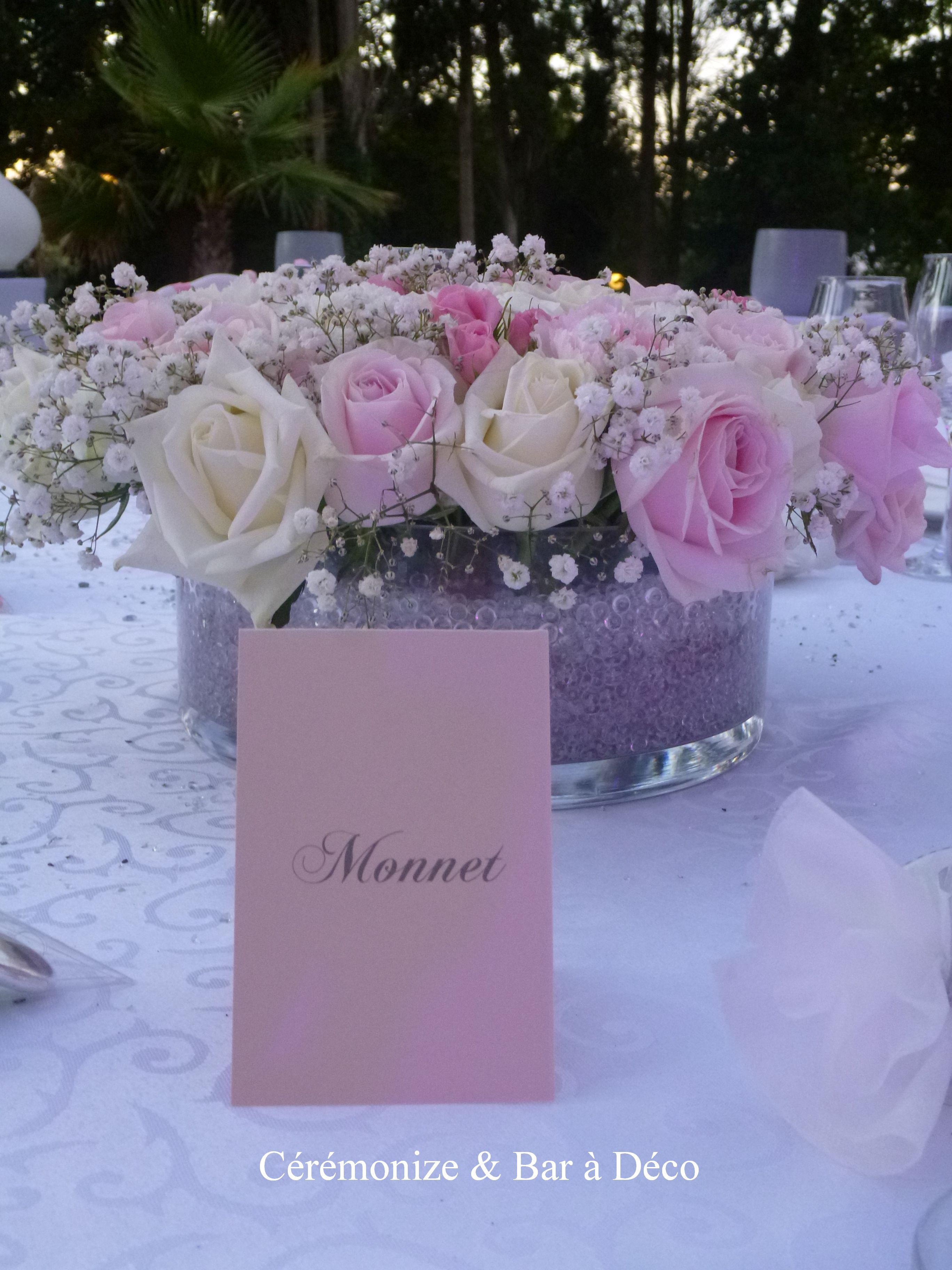 Centre De Table Floral Pour Mariage Romantique Avec Nom De