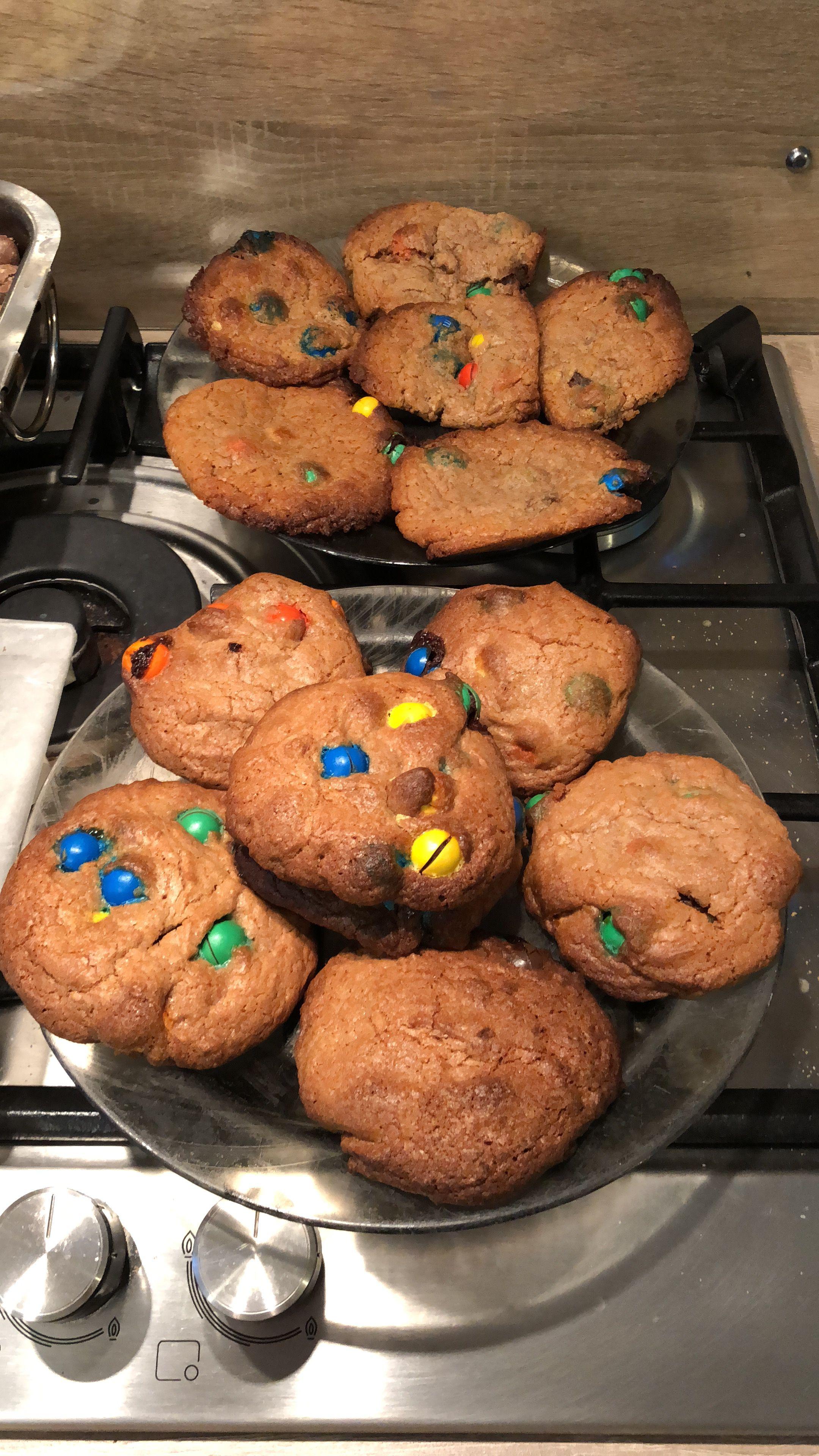 Crunchy caramel m m cookies baking food desserts