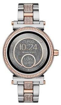 589fd6341160 Michael Kors Sophie Two-Tone Stainless Steel and Pave Bracelet Touchscreen  Smartwatch
