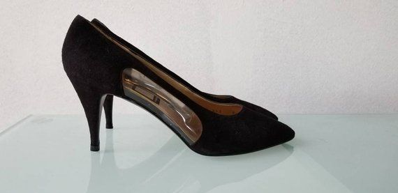 ca3a60bcaeeb8 NINA GLASS SLIPPERS // 80's Black Suede Leather Spain Heels Pumps ...
