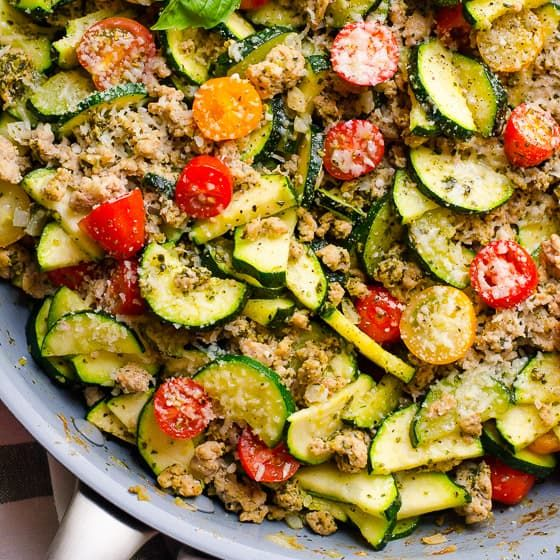 Ground Turkey Zucchini Skillet with Pesto - iFOODreal
