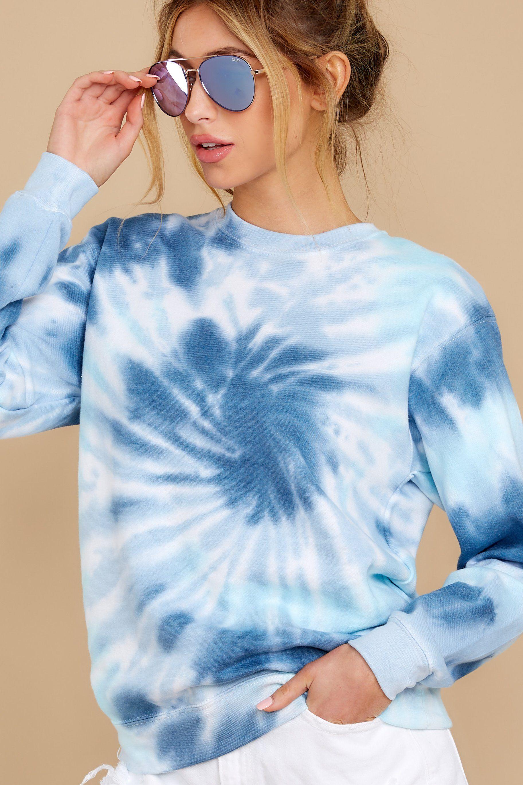 Blur The Lines Sea Blue Navy Spiral Tie Dye Sweatshirt Tie Dye Outfits Tie Dye Sweatshirt Tye Dye Shirts [ 2738 x 1825 Pixel ]