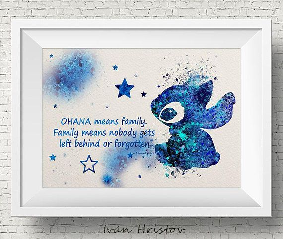 STITCH Blue Quote Ohana Lilo and Stitch Disney Watercolor illustrations Art Print Giclee Wall Decor Art Home Decor Wall Hanging #stitchdisney