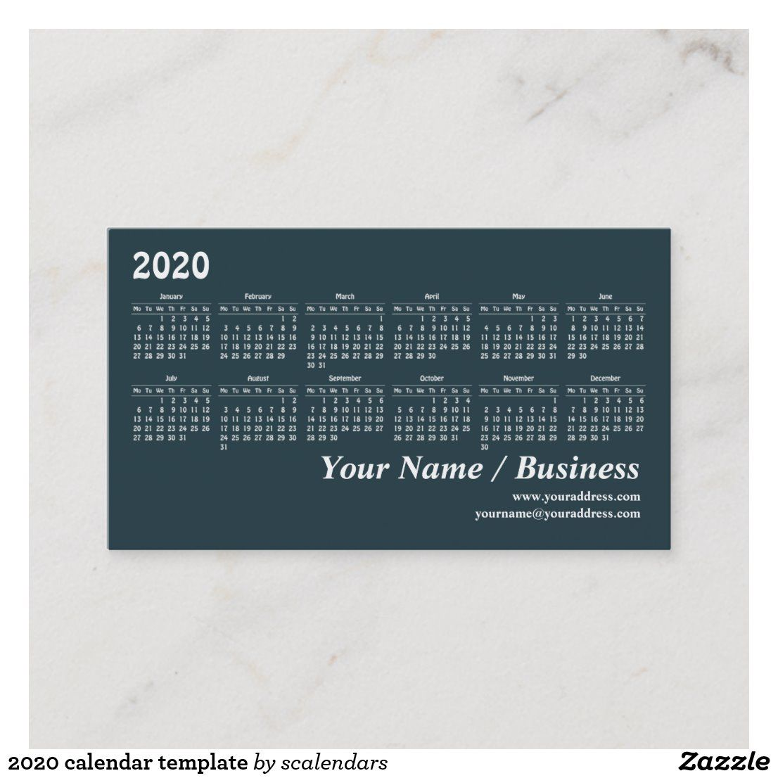 2020 Calendar Template Business Card Zazzle Com 2020 Calendar Template Calendar Template Create Your Own Calendar