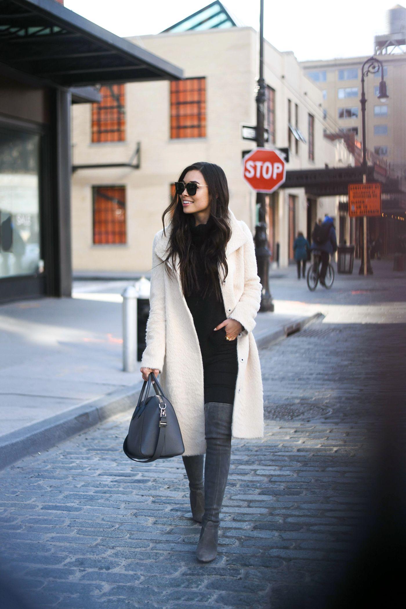 Eileen Fisher Coat Ivory Grey Downtown With Love From Kat Stuart Weitzman Beautiful Fashion Autumn Winter Fashion [ 2100 x 1400 Pixel ]