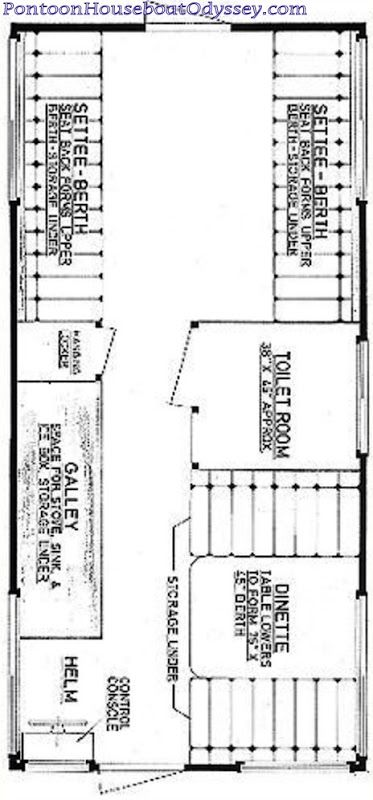picture of a 8x16ft  pontoon houseboat floor plan
