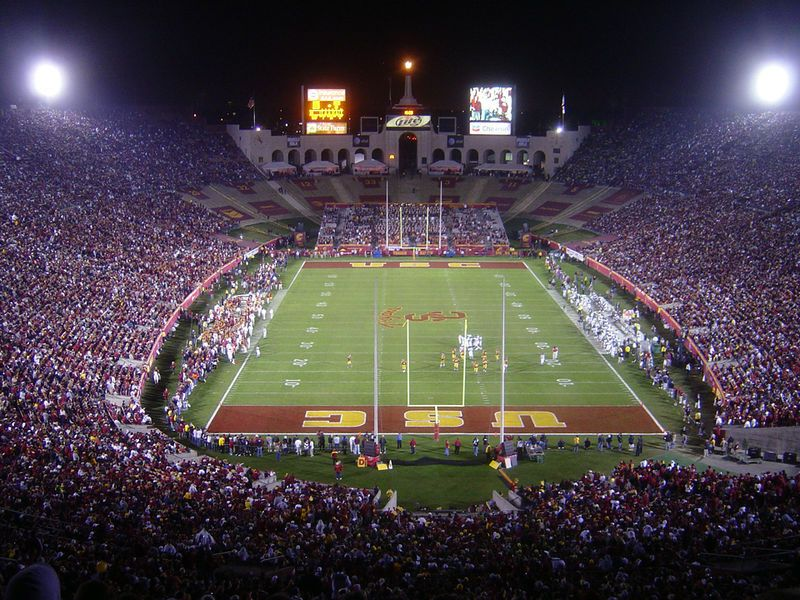 La Coliseum During Usc Football Night Game Looking From West Bowl Endzone Towards Peristyle Usc Trojans Football Trojans Football Usc Football