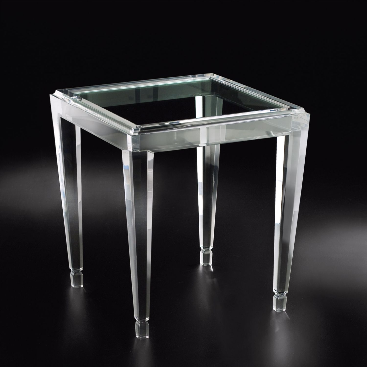 Allan Knight Acrylic Gold Palm End Table Square