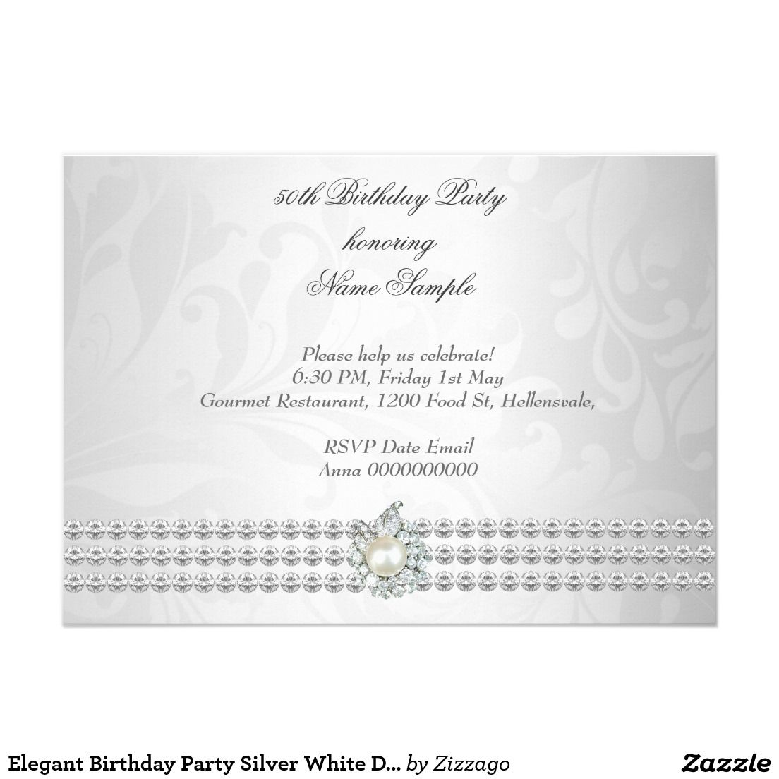 Elegant Birthday Party Silver White Diamond Pearl 4.5x6.25 Paper ...