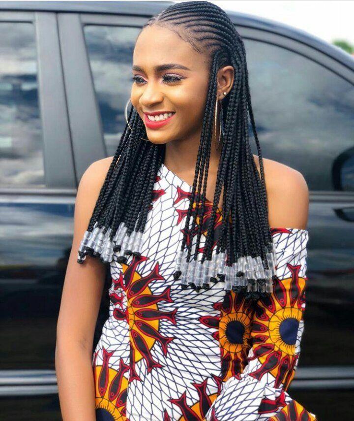 Long Ghana Weaving With Beads Braids With Beads Fulani Braids Ghana Braids