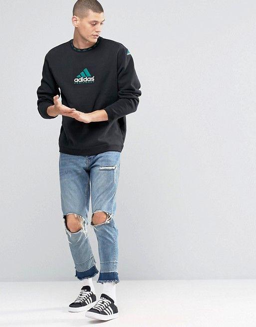 577d03172efb adidas Originals EQT Crew Sweatshirt In Black AY9246