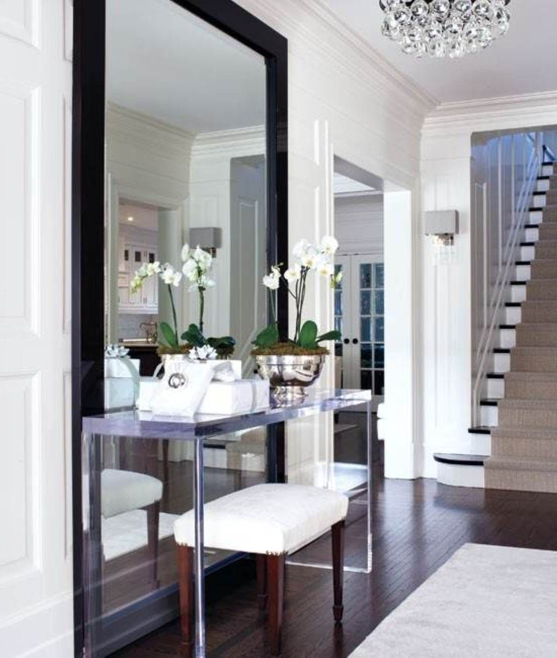 Awesome Black Wood Floor Plus Huge Wall Mirror Design Feat Captivating  Console Table Decor With Potted Orchid Flowers Inspiring Console Table  Decor Ideas ...