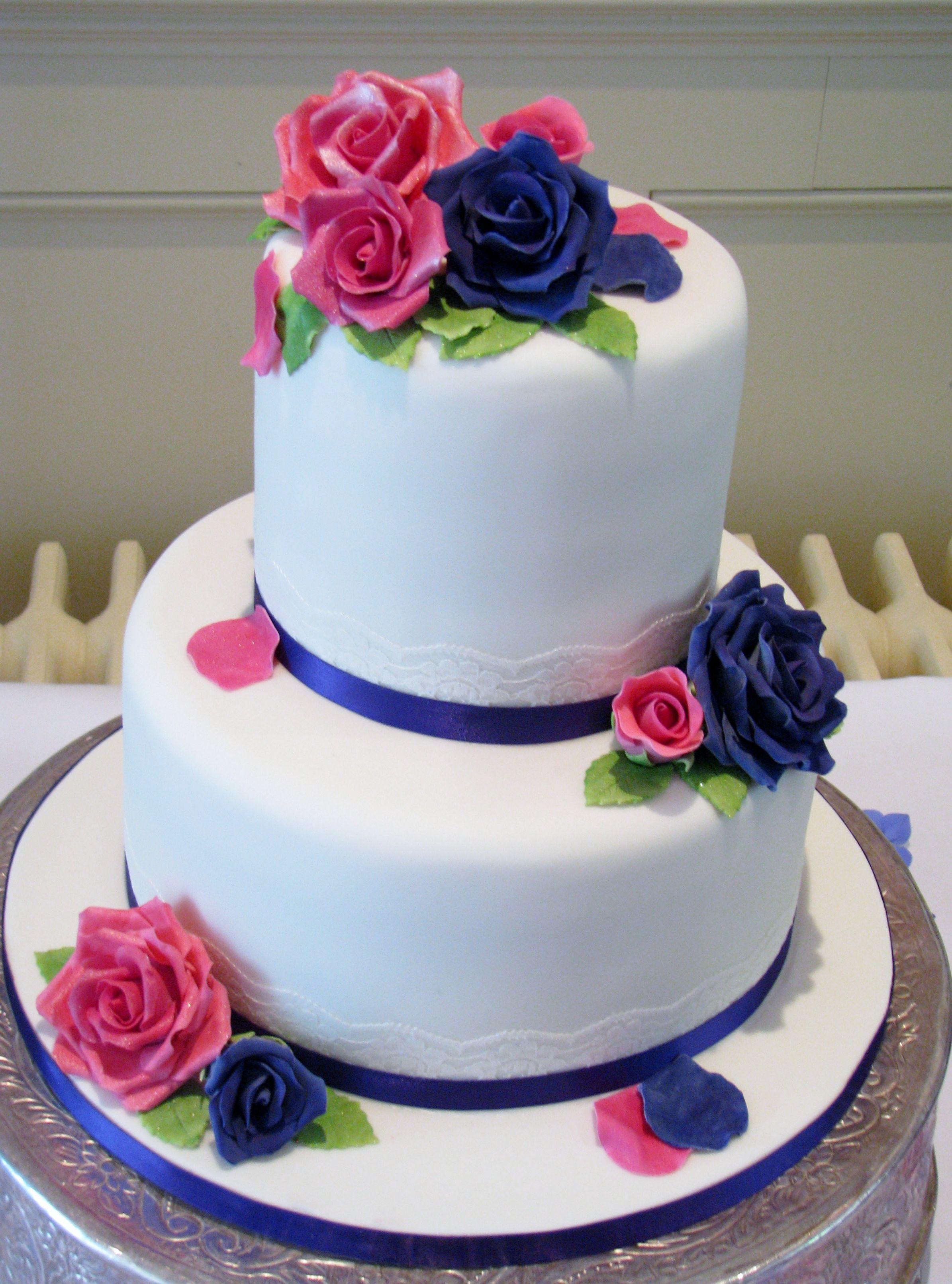 Fushia Pink And Kadbury Blue Rose Wedding Cake By Dazzlelicious