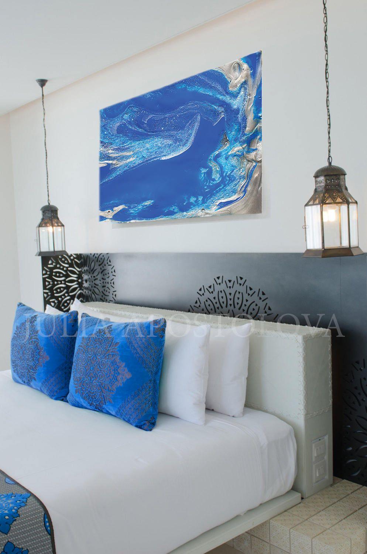 Bluewallart blue silver print minimalist large