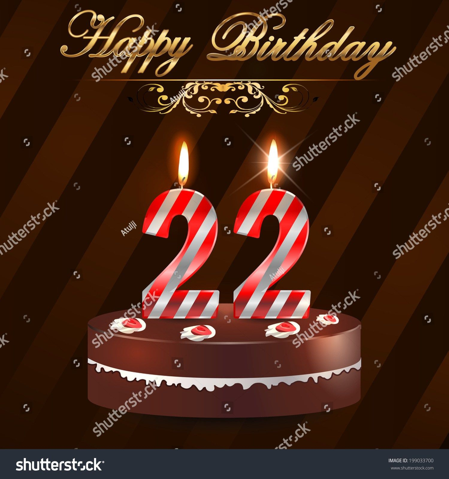 25 Beautiful Image Of 22Nd Birthday Cake 22 Year Happy Card Stock Vector Royalty Free CakeForBirthday