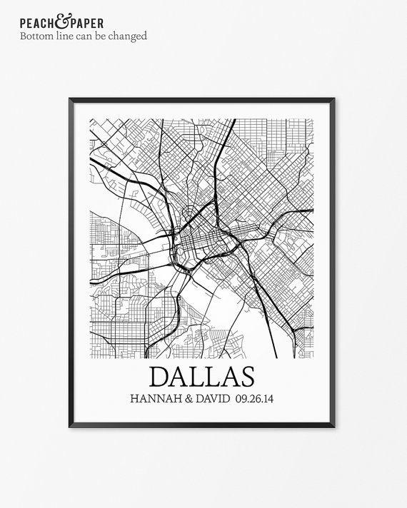 Dallas Map Art Print Dallas Poster Map Of Dallas Decor Dallas City
