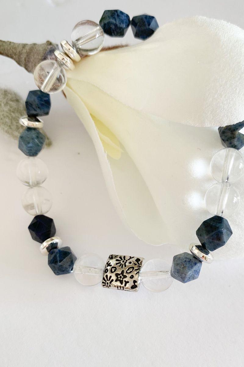 Blue dumortierite clear quartz crystal bracelets for women